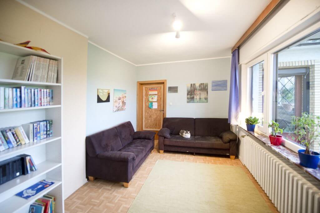 Wohnbereich mit dunklen Sofas, großen Fenstern und Katze