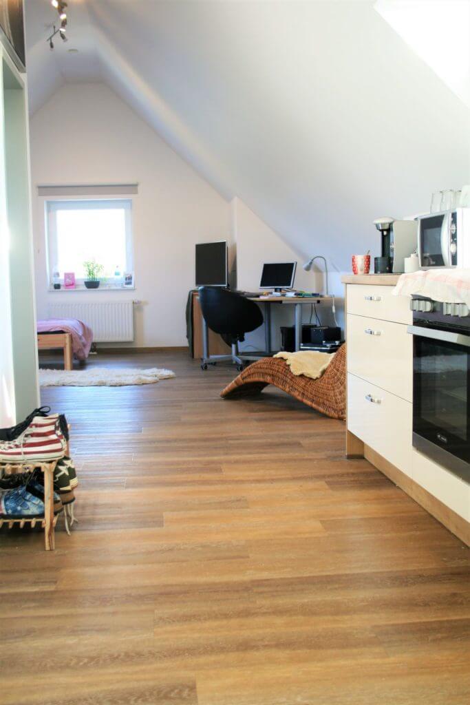 Wohn- und Essbereich mit Schreibtisch und Computer
