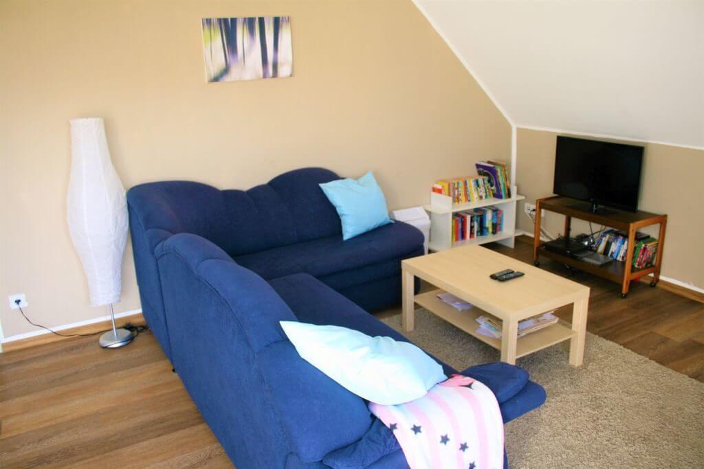 Wohnraum mit blauem Ecksofa und Fernseher